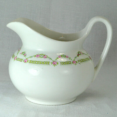 """W. S. GEORGE - """"Derwood"""" Vintage Old Style Creamer with Garland of Roses"""