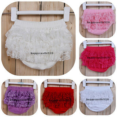 Girl Newborn Kids Clothes Ruffle Lace Pants Shorts Bloomers Diaper  Nappy Cover