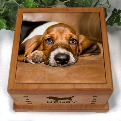 Pet Dog/Cat memorial Cremation Urn Wood Lasered Sublimation Tile Photo 5x5 Small
