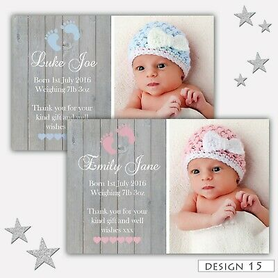 Personalised New Baby Boy Girl Birth Announcement Thank you Cards