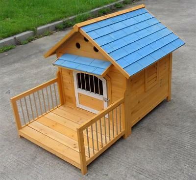 "48"" Deluxe Large Solid wood Indoor Outdoor Dog House Club Pet Products w/ Patio"