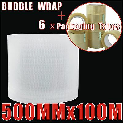 500mm x 100M Bubble Wrap Roll Clear P10 + 6 x Packaging Clear Tapes
