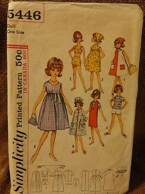 Vintage Simplicity Doll Clothes Sewing Pattern 5446 Tammy Jan Terry