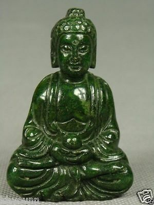 CHINESE OLD JADE HANDWORK CARVED BUDDHA STATUE