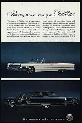 1966 CADILLAC Convertible DeVILLE Luxury Car - FLEETWOOD BROUGHAM - VINTAGE AD