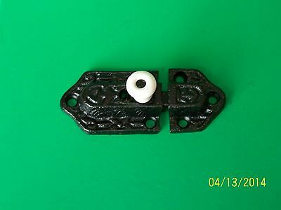 Antique Style Victorian Cabinet Latch, Black Cast Iron, Hutch, Porcelain Knob