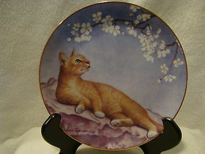 """#187 Danbury mint """"Cat and Flowers"""" One Day in May, Hand painted plate."""