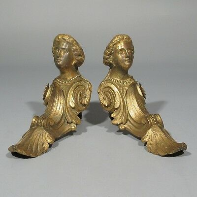 2 Antique French Gilded Bronze Furniture Clock Decorations Woman's Head, Stamped