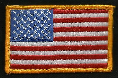 American Flag Red White & Blue Orange Border USA Biker Military Motorcycle Patch