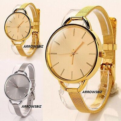 Thin Strap Narrow Mesh Band Metal Wrist Watch Women's Elegent Fashion Stylish UK