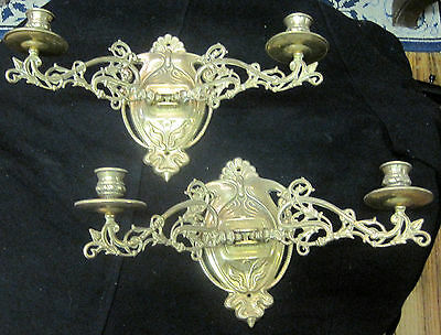 Pair of Antique Bronze Art Noeva Moving Sconces Candle Holders 7""