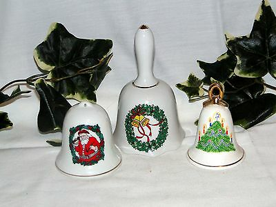 Lot of 3 Porcelain Bells ~ Christmas Theme
