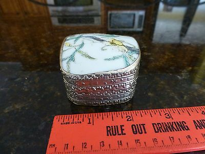 Vintage Cup Jewelry Box trinket  Silver Aluminum Ceramic Hand made hammered