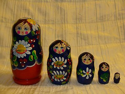 Russian Hand Painted Nesting Doll Matryoshka 5 pcs Piece Set - Made In Russia