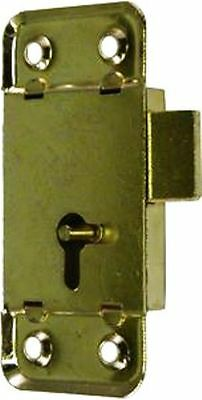 "M-1871  LARGE BRASS PLATED FLUSH MOUNTED LOCK TWO WAY KEYHOLE 3"" long x 1-3/8"" W"