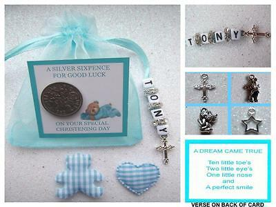 PERSONALISED LUCKY SIXPENCE CHRISTENING DAY GIFT BABY BOY with Heart and Teddy..