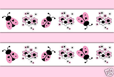 Pink Black Ladybug Wallpaper Border Wall Decals Girls Floral Ladybird Stickers