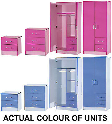 NEW Marina Boys or Girls Pink & Blue Ultra Gloss Bedroom Furniture Units & Sets