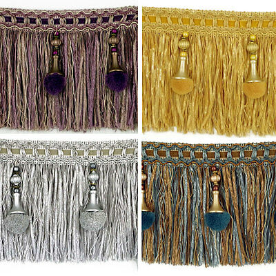 Luxury Exquisite Beaded Tassel Trim Fringe Braid Trimming Pom Pom 4 Colours