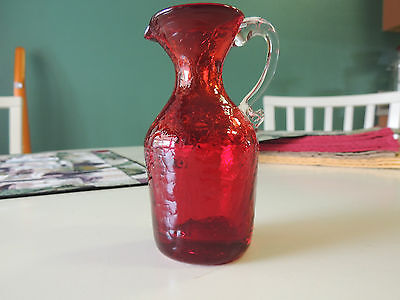 Vintage Ruby Red Crackle Glass Vase or Pitcher