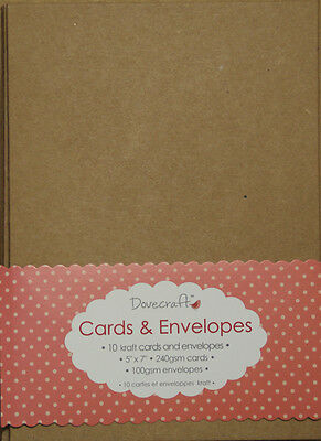 "10 x 5""x7"" Recycled Kraft Card Blanks + Envelopes Natural Brown Buff (Christmas)"