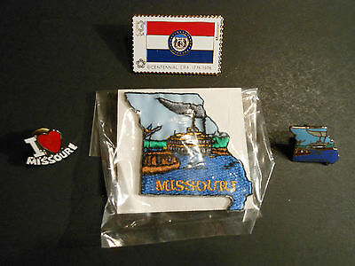 "LOT OF (4) - VINTAGE ""MISSOURI"" ITEMS (1) PATCH & (3) DIFFERENT PINS, hat shirt"