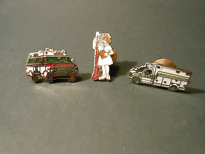"LOT OF (3) VINTAGE ""MEDICAL EMERGENCY"" PINS ""AMBULANCE & NURSE""    hat, shirt,"