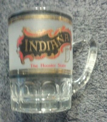 MINT VINTAGE INDIANA THE HOOSIER STATE MINI MUG/LARGE SHOT GLASS/TOOTHPICK