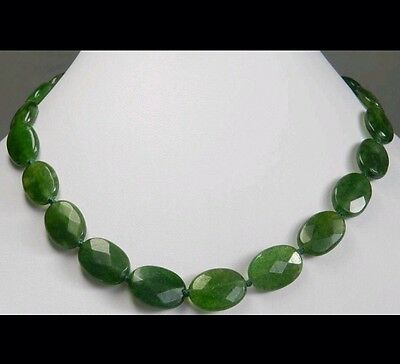 GREEN OVAL FACETED EMERALD 13x18mm CHRISTMAS GIFT PARTY CASUAL NECKLACE⛵️FROMUSA