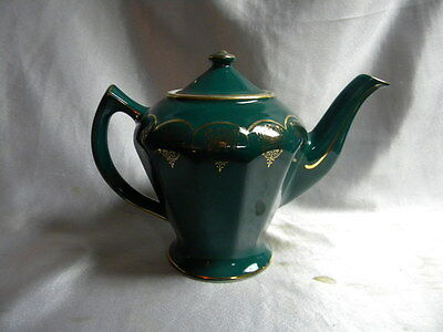 Hall China Albany 6 cup Teapot turquoise w Standard Gold Trim Excellent