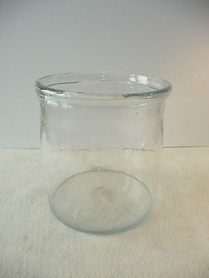 Large Hand Blown Crock, Jar, Vase with Crackle Glass Top Free Form Lip