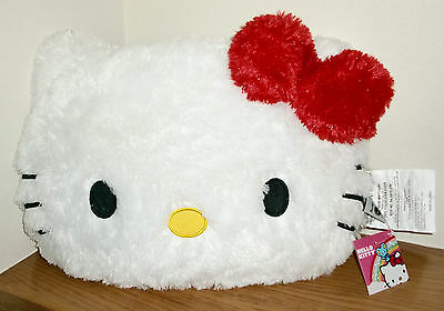 NWT HELLO KITTY FACE WHITE PLUSH SOFT PILLOW CUSHION WITH RED BOW