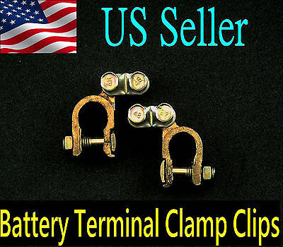 2x Replacement Auto Car Battery Terminal Clamp Clips Brass Connector New