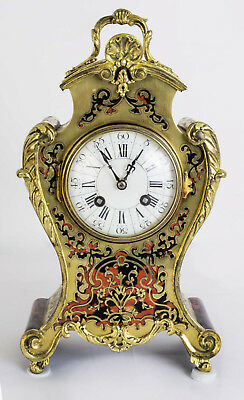 Antique French Red Boulle Cut Brass Mantel Clock c.1880