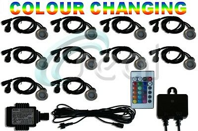 10 x 40mm LED Deck/decking lights Multicolor RGB Colour Changing