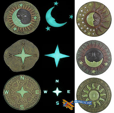 Glow In The Dark Garden Stepping Stone Sun Moon Paving Decking Ornament Plaque