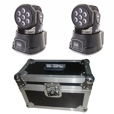 2x ETEC LED Moving Head Washer 7x10W RGBW 4in1 Beam mit Case Flightcase Koffer