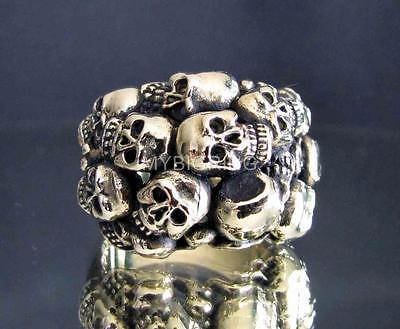 21 x BRONZE RINGS 13 CLUSTER SKULLS GRAVEYARD WHOLESALE LOT ASSORTED SIZES