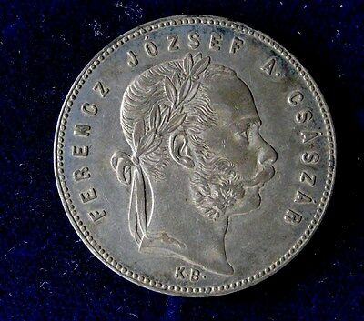 1869-KB Hungary 90% Silver 1 Forint Austro-Hungarain Empire Coin Angels/Crown
