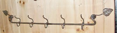 Wrought Iron,Coat and Hat Rack with 5 Duplex Hooks,Hand Forged by Blacksmiths