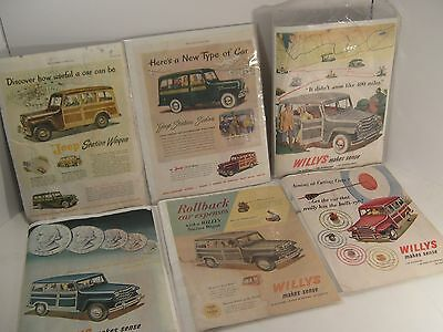 Lot of 6 1948, 1949, 1950 & 1951 Vintage Willys Jeep Ads ORIGINAL ADVERTISING