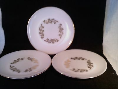 Set of 3 Federal heat proof USA Dinner Plates white gold vintage