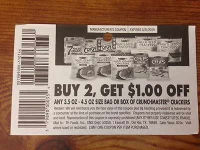 20 COUPONS $1/2 CRUNCHMASTER CRACKERS CRUNCH MASTER MULTI GRAIN CRISPS SEED