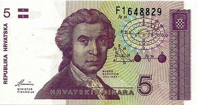 CROATIA 1991 5 DINARA BANK NOTE in a Protective Sleeve