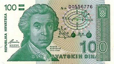 CROATIA 1991 100 DINARA BANK NOTE in a Protective Sleeve