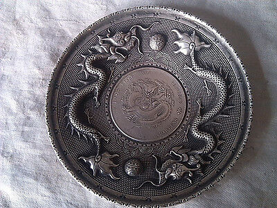 JS892 Unusual Chinese Qing dynasty imperial silver - Guanxu Dragon Plate