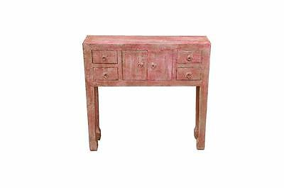 INDIA little shabby chic wooden desk credenza in emboss painting red D ED 11-44