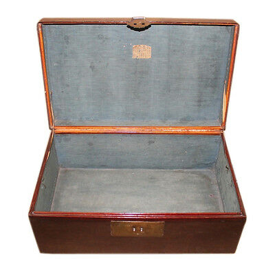 1930 China antique chest in the metal fitting leather finish