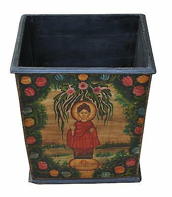 India painted solid wood planter flower pot