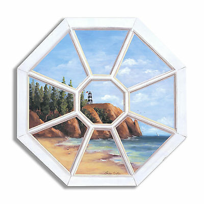 Octagon Lighthouse Wooden Faux Window Scene Painting Print Plaque